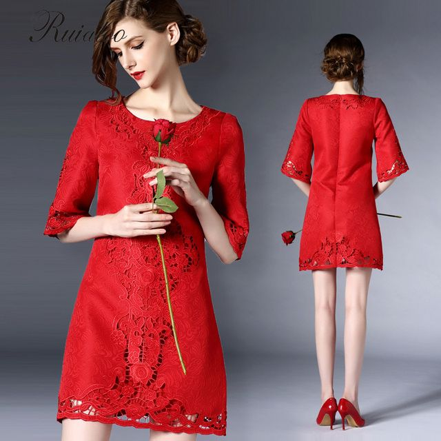 2017 new Bride Bridesmaid T-shirts red openwork embroidery waist thick dress routine sleeve dress miniskirt