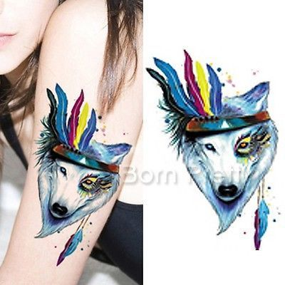 1 Sheet Indian Wolf Tattoo Decals Body Art Waterproof Paper Temporary Tatto