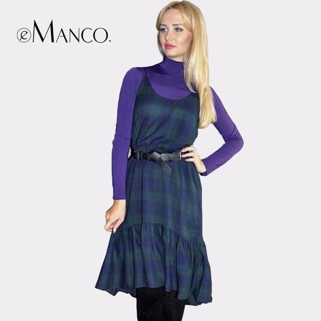 e-Manco Fashion Sexy Dress For Women blue&red Plaid Dress female 2017 Slim Vestidos Women's Clothing Ruffles roupas feminina