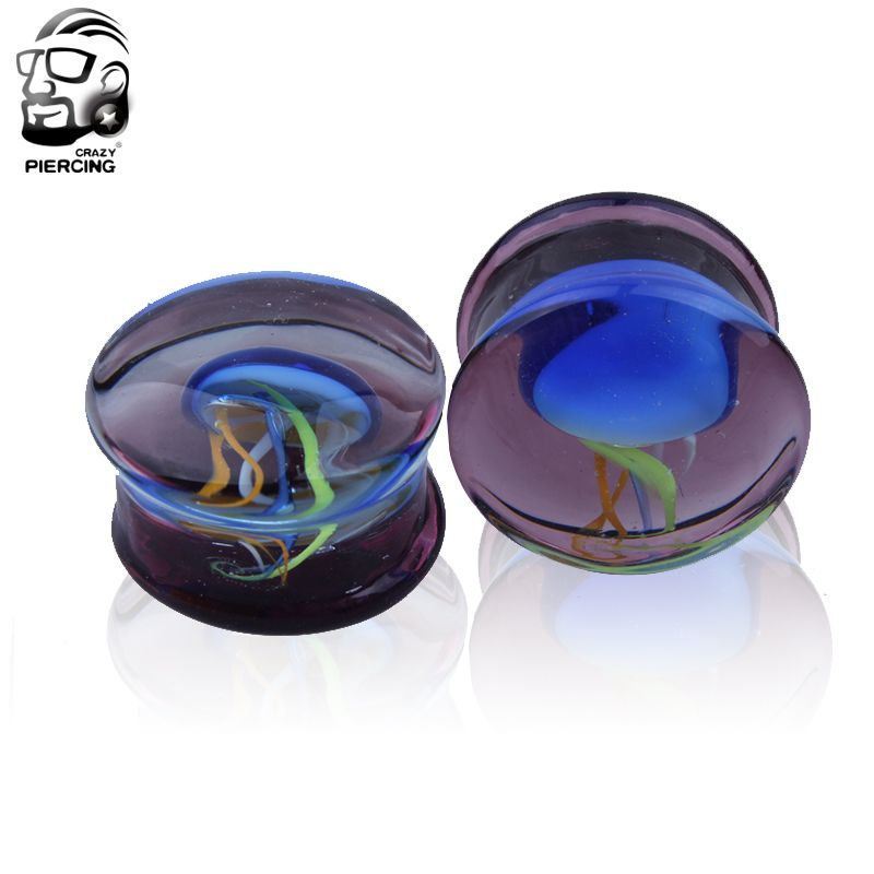 Romantic 8-16mm colorful jellyfish Glass  Ear Plug Gauge Tunnel Body Piercing Jewelry  Ear gauges