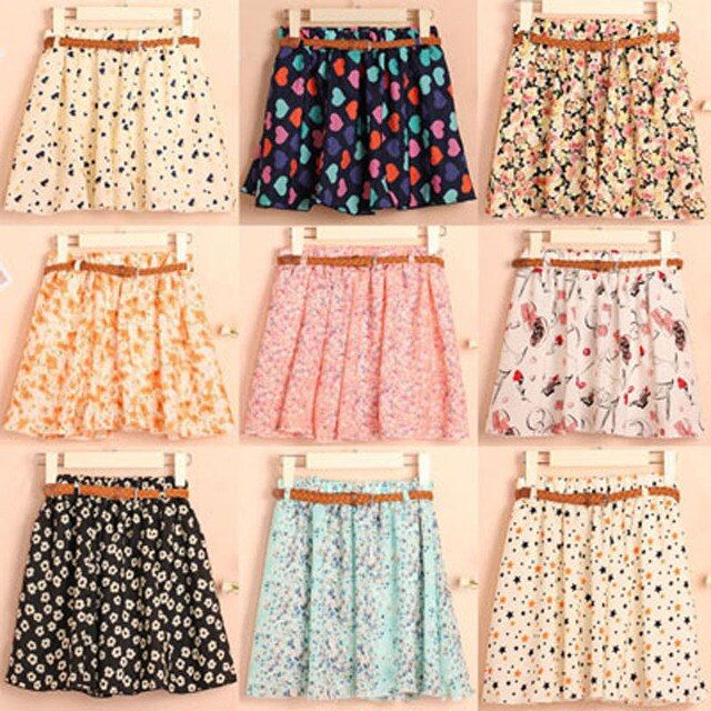 High quality Fashion Summer Women Chiffon Skirt With Belt Casual Floral Short Skirts