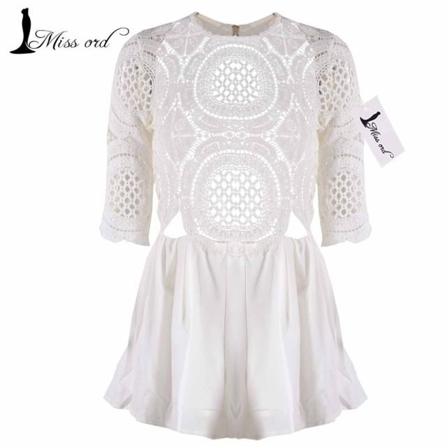 Free Shipping Missord 2016 Sexy lace stitching short-sleeved playsuit FT2458