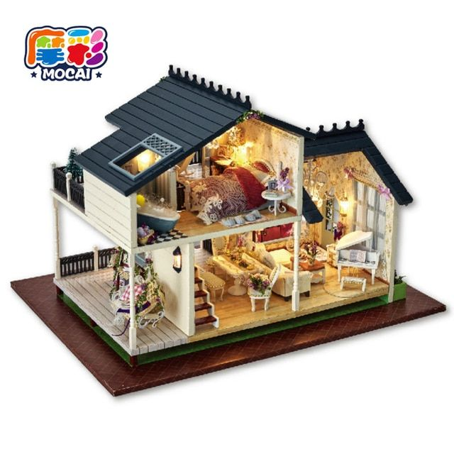 mocai 2017 furniture puppenhaus Diy Doll House PROVENCE Miniature Wooden Building toys Model Dollhouse Furniture Model Birthday