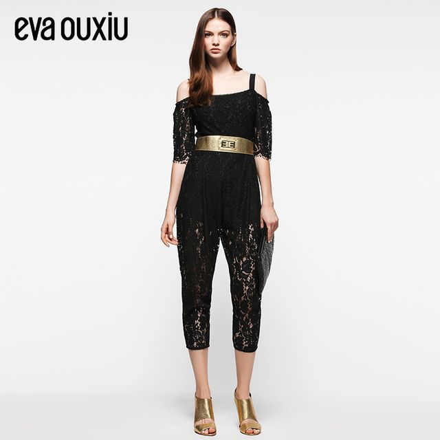 Evaouxiu Women Sexy Strapless Lace Elegant  Jumpsuit High Waist Ankle Length Trousers Not Belt Included
