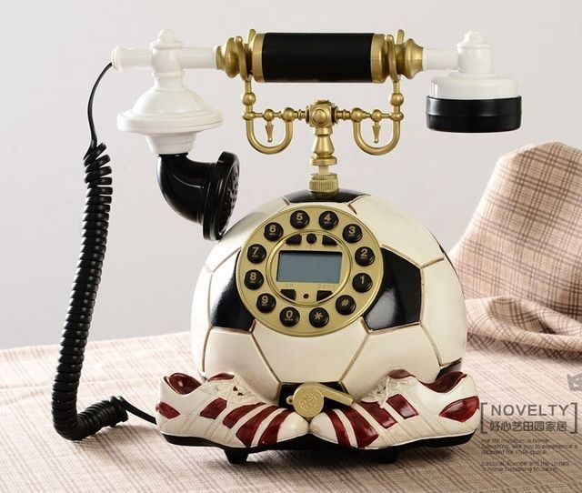 darling football Telephone made of resin white red immovable telephone