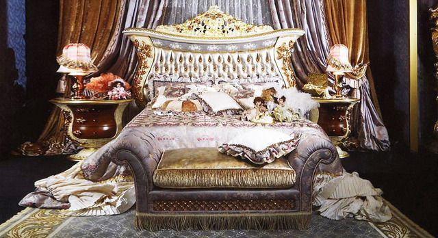 European Style Luxury Royal King Bed with Holstered Headboard, 3 Color
