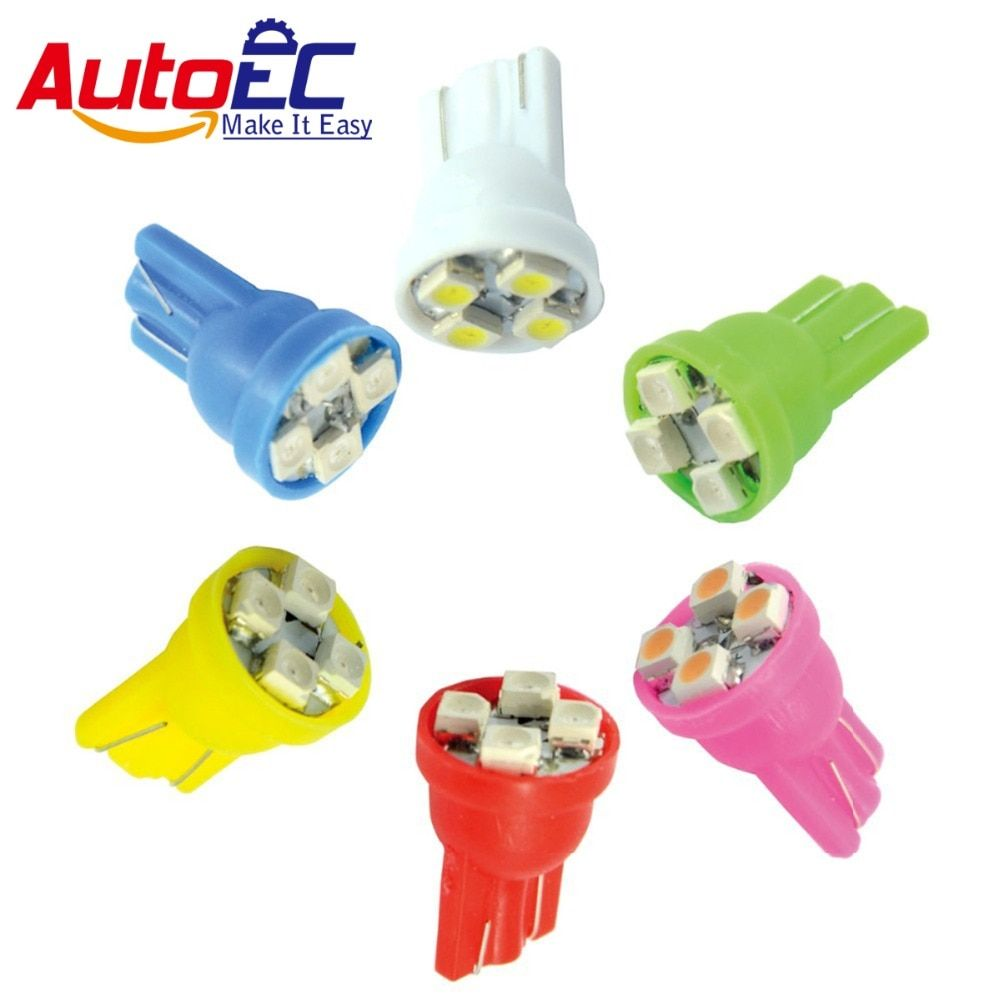 AutoEC 100X Car Turn signals LED lamps T10 194 168 W5W 4SMD 3528 LED 4300K-6000k white red blue green yellow pink #LB01