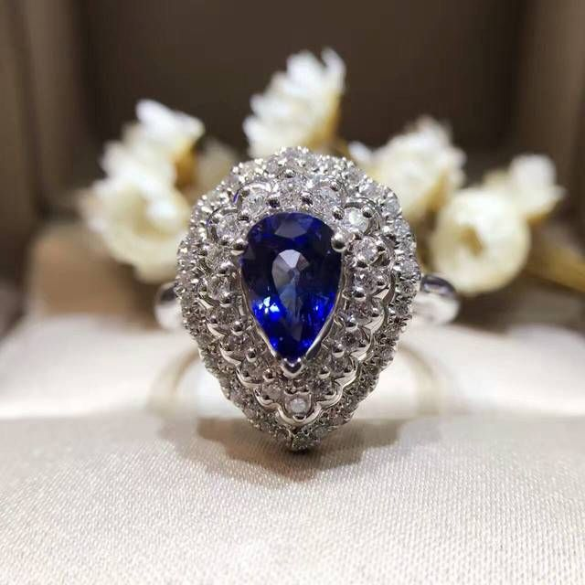 18K Gold 1.130ct Natural Sapphire Women Ring with 0.411ct Diamond Setting 2016 New Fine Jewelry Wedding Band Engagement