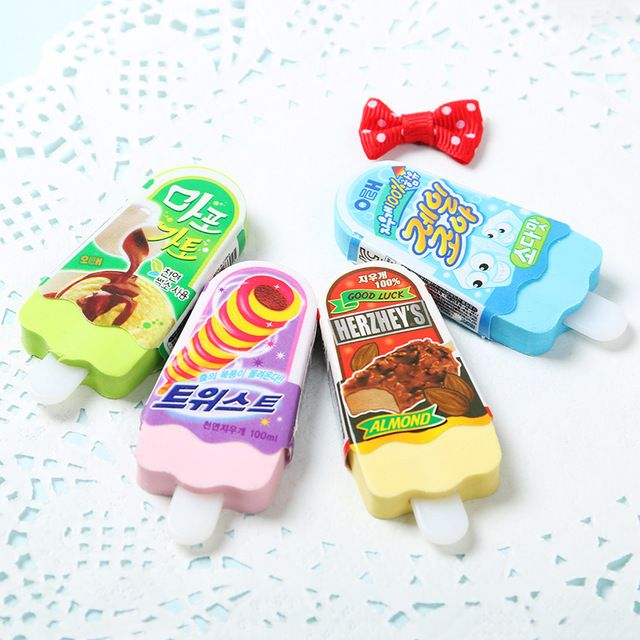 1PC Cartoon Kawaii Ice Cream Rubber Eraser Cute School Supplies Toy Material Student Learning Office Supplies