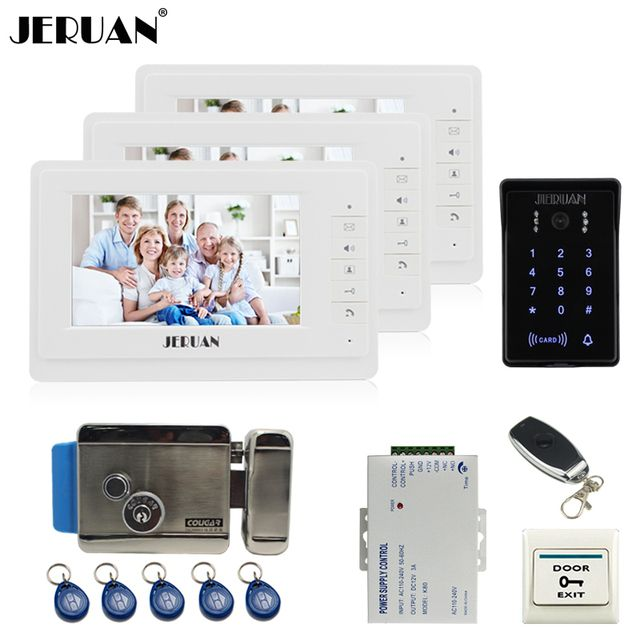 JERUAN 7`` LCD video door phone intercom system Kit 3 monitor brand new RFID waterproof Touch Key password keypad Camera E-Lock
