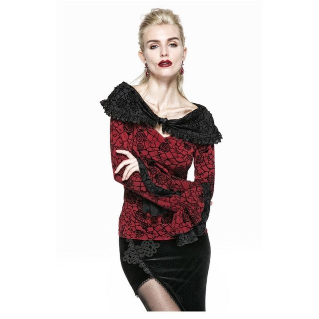 Punk Gothic Vintage Top Victoria Retro Casual Cotton Long Sleeve Womens Shirt