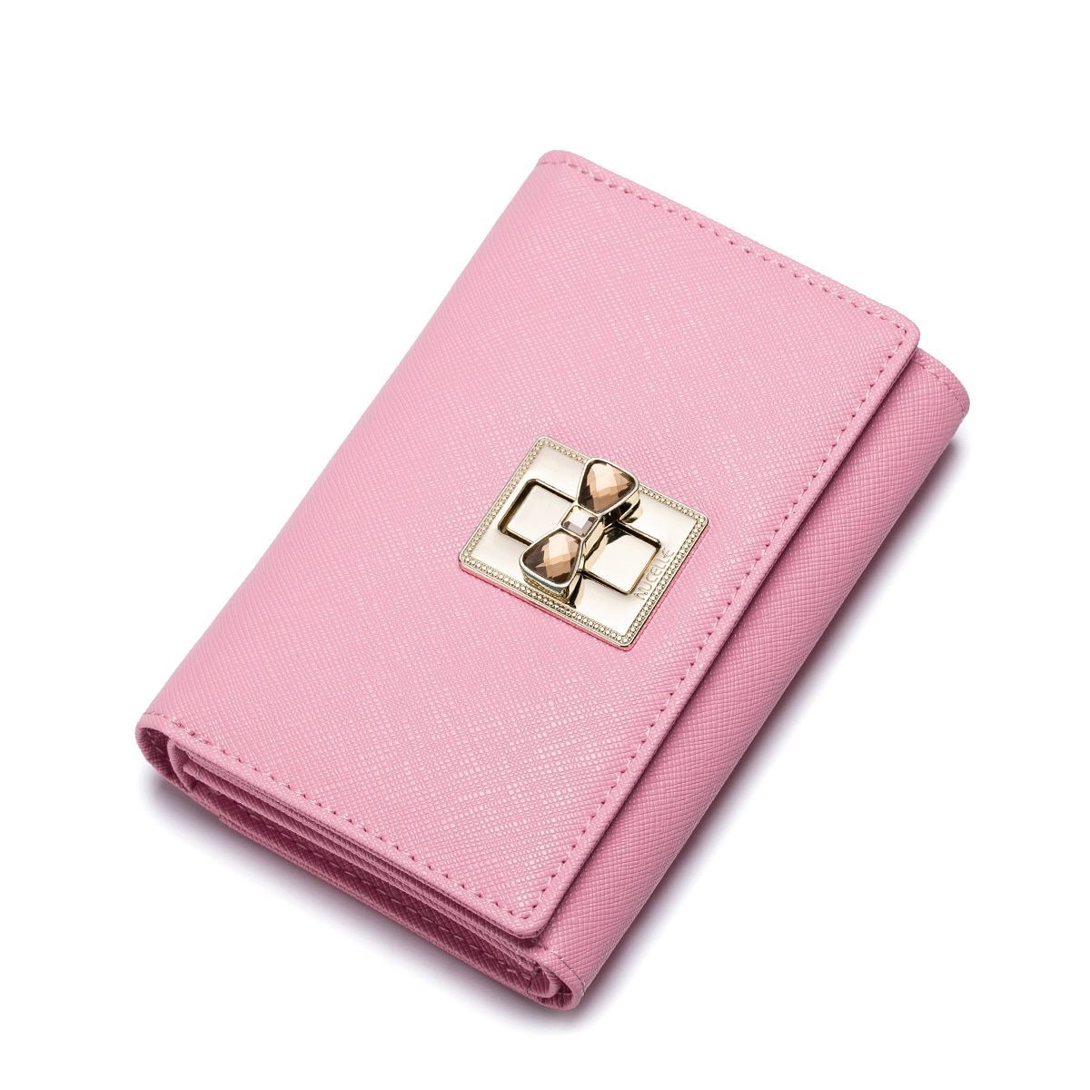 Genuine Leather Women Wallets Female Sweet Lock Cowhide Wallet Ladies Short Trifold Clutch Foldover Pouch Purse Money Clips