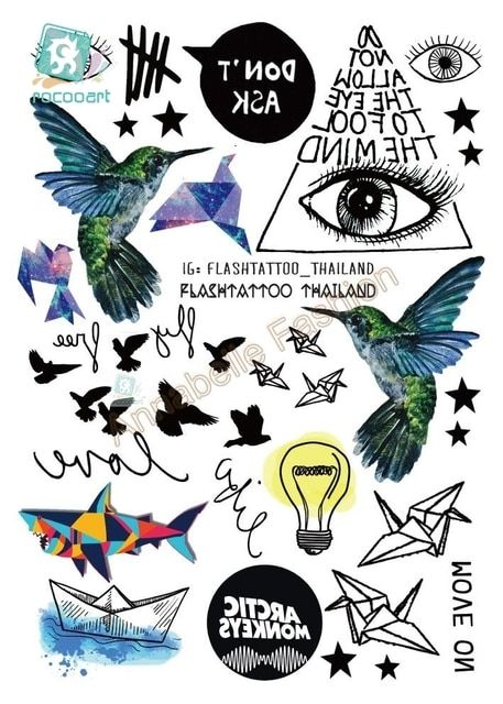 Rocooart A6080-209 Black tatuagem Taty Body Art Temporary Tattoo Sticker Gradient Colorful Birds Eye Shark Glitter Tatoo Sticker