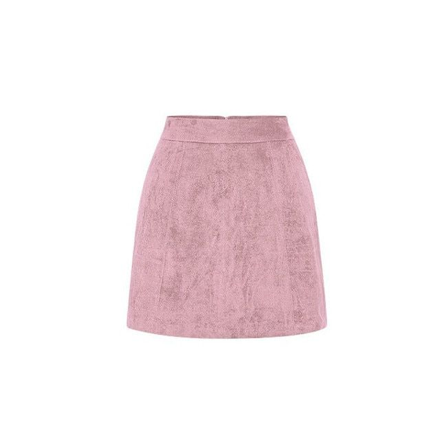 High rise faux suede skirt solid skirt spring winter skirt women