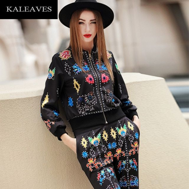Runway Novelty High Street Fashion  2 Piece Women Set Autumn Winter  2016 Zipper Lantern Sleeve O-Neck Shirt + Pockets Pants Set
