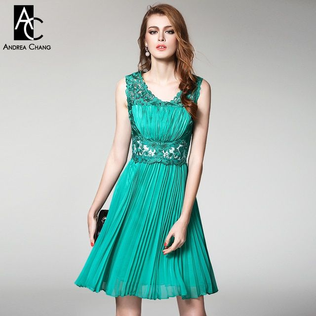 spring summer runway designer womens dresses high quality event dress green blue red embroidery top pleated vintage brand dress