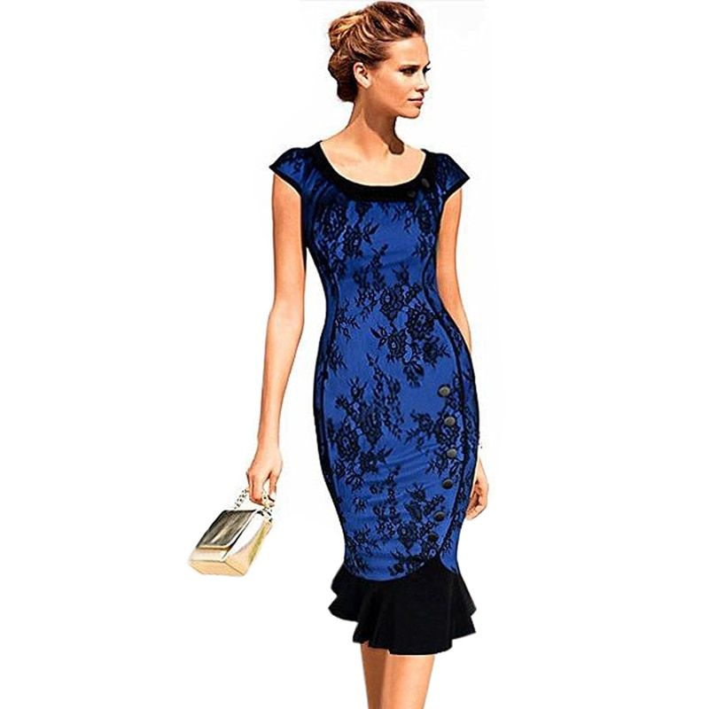 Oxiuly 2015 New Women Vintage Classic Blue Lace Patchwork Puff Sleeve Peter Pan Collar Button Slimming Party Mermaid Dress S-XXL