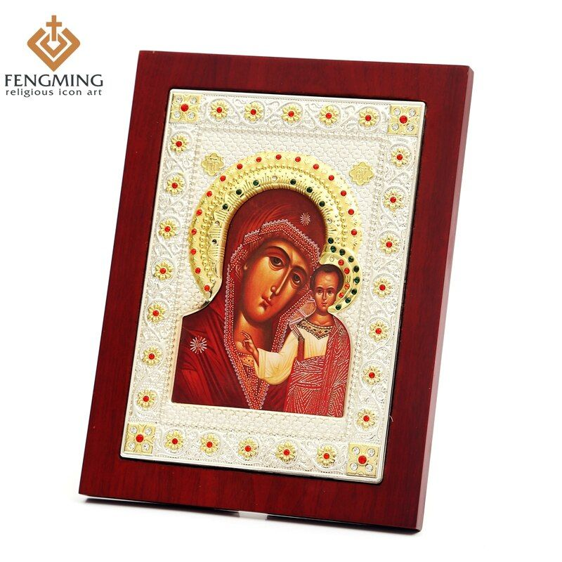 Silver god art handmade crafts virgin mary of kazan russian greek orthodox icon Religious wall decoration
