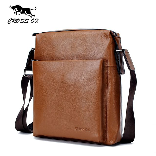 CROSS OX Genuine Leather Messenger Bags For Men Cowhide Leather Men's Bag Shoulder Bag Cross Body Bags iPad Holder SL369M