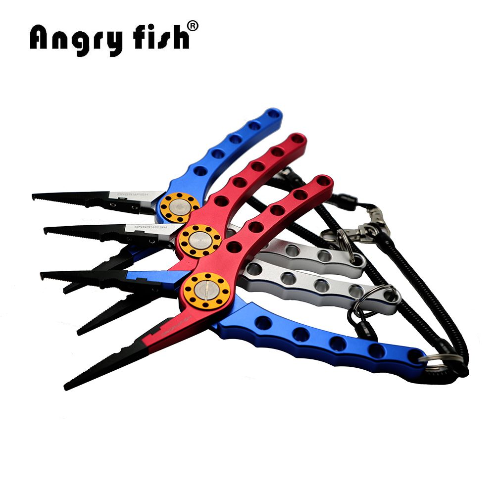 Angryfish Aluminum Fishing Pliers Split Ring Cutters Fishing Hooks Remover Fishing Clamp Tackle L2 Double Colors