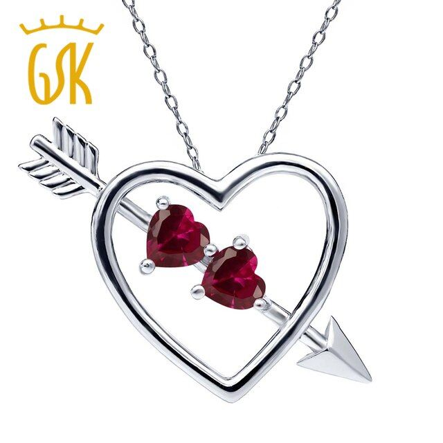 1.20 Ct Red Created Ruby Pendant Heart and Arrow For Women Wedding Genuine Solid 925 Sterling Silver Fine Jewelry GemStoneKing