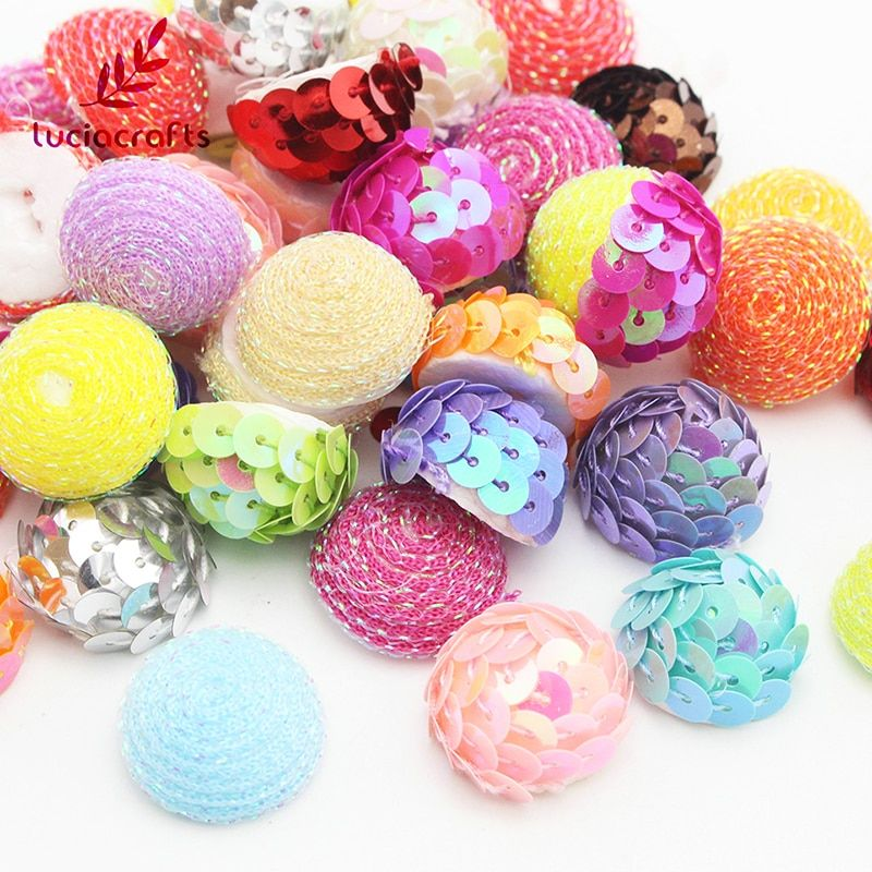 SALE!  20-24mm Random Mixed Foam Sequins Half Round Ball Christmas DIY Decoration Handmade Accessories 24pcs/lot H0102