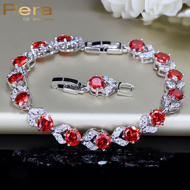 Pera Elegant Women Design 925 Sterling Silver Red And White Cubic Zirconia Stone Ladies Party Bracelet For Christmas Gift B097
