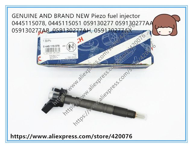 GENUINE AND BRAND NEW Piezo fuel injector 0445115078, 0445115051 059130277 059130277AA, 059130277AB, 059130277AH, 059130277AX