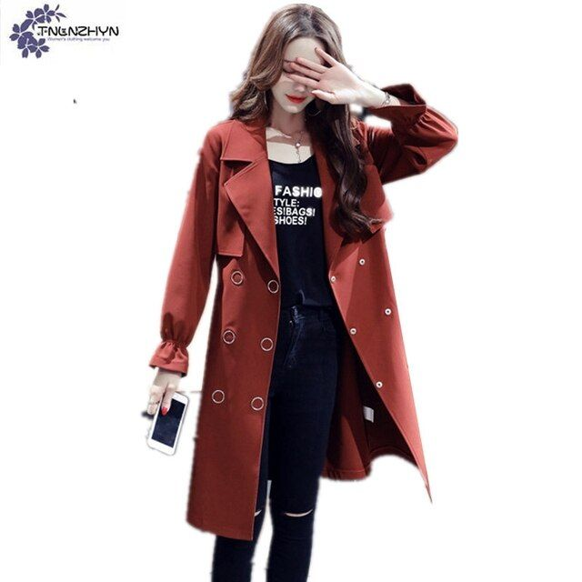 TLNLZHYN2017 spring new Fashion big yards slim Female Trench Outerwear long sleeve Lapel Women's clothing Windbreaker coat TT201