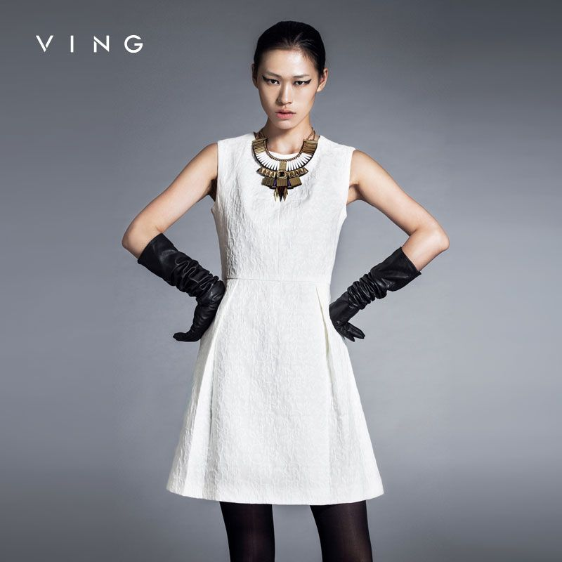 Ving 2017 Elegant New Women One Piece O-neck Sleeveless A-line Slim Dress vestidos de renda feminino