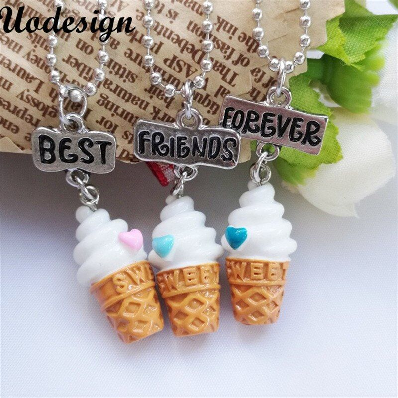 Kids jewelry children necklace cute ice cream best friends BFF necklace bead chain pendant charm necklace set gift for girl