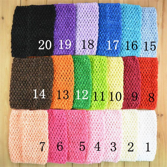 Wholesale 80pcs/lot 6 Inch Girl Elastic Tutu Tube Waffle Headbands Crochet Top Headwears 15x15cm 34 colors H015