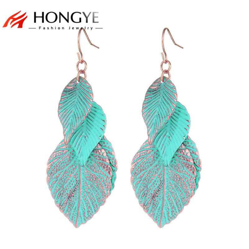 2018 Newest Design Rose Gold-Color Blue Leaf Earrings For Women Bohemian Multi Layer Long Earrings Fashion Jewelry