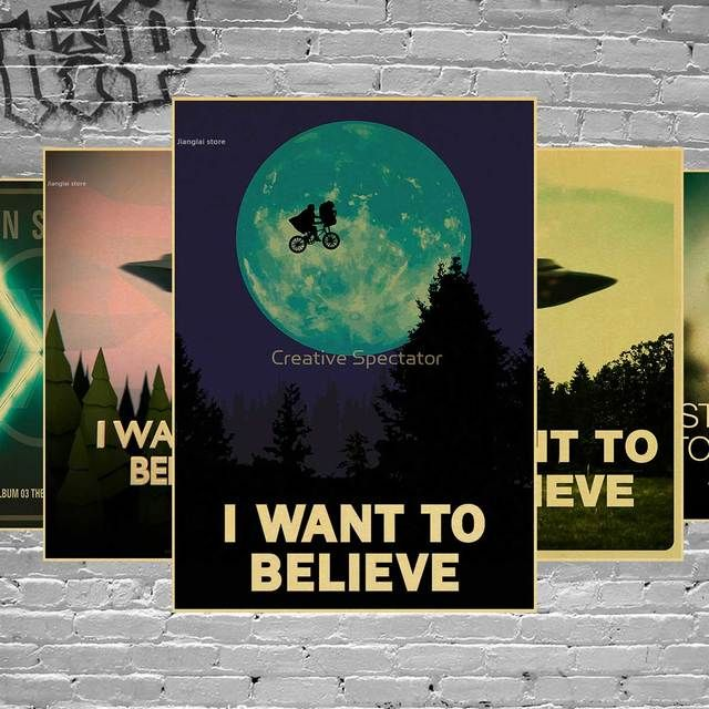 Vintage Classic Movie The X-Files I Want To Believe Poster Bar Home Decor Retro Kraft Paper Painting Wall Sticker