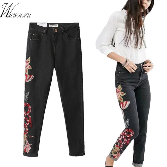Wmwmnu New 2017 Women's Vintage Embroider jeans Sexy tie waist Stretch Denim Pants Female Slim Skinny Trousers Jeans ls254