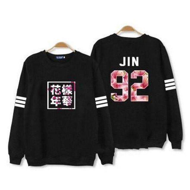Hot Kpop bts hoodies for men women bangtan boys album floral letter printed fans supportive o-neck sweatshirt plus size