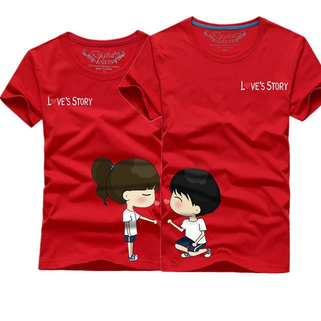 Valentine Lover couple Clothes Short Sleeve T-shirt Casual Summer T-Shirt Man and Woman Couple T-shirts Lovely Cartoon Tee Tops