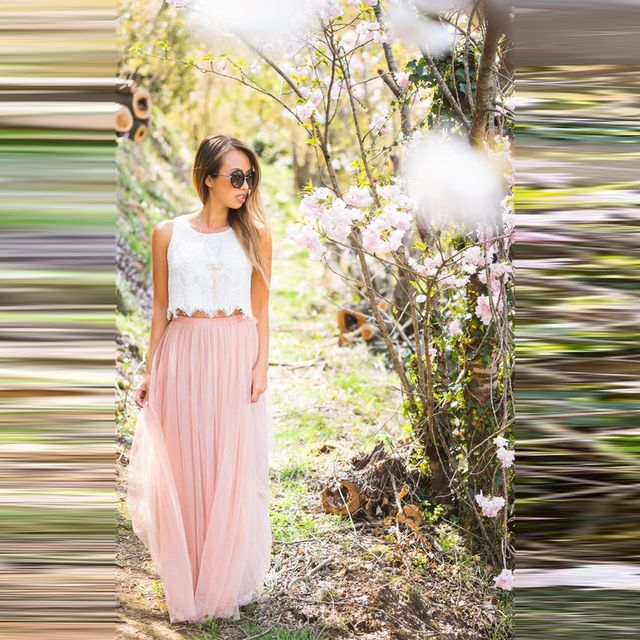 Casual Women Skirts Elastic Waistline A Line Floor Length Long Maxi Skirt Custom Made Soft Tulle Skirt Pink Color