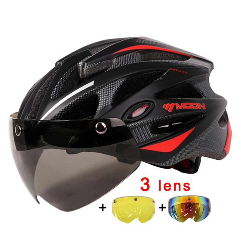 MOON Magnetic Goggles 275g MTB Road Mountain Cycling Helmet Bicycle Helmet In-mold Lens Bike Helmet 55-61CM Casco Ciclismo