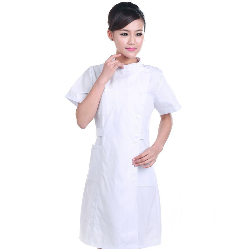 Summer 2 Color Nurse Uniform  Medical Robe Hospital Nurse Uniform Women Medical Uniforms Ladies Elegant White Lab Coat