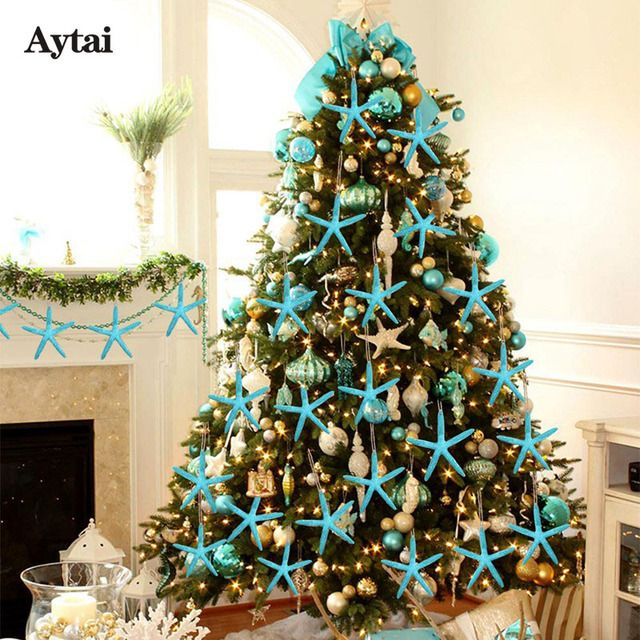 Aytai 10pcs New Year 2018 Starfish Five Finger Christmas Pendant Drop Hanging Ornaments 4*4inch Christmas Decoration Supplies