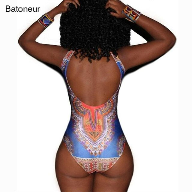 Batoneur 2017 Sexy Backless Bodysuit African Romper Floral Swimsuit Summer Women Jumpsuit Party Sleeveless Bodysuit Overalls
