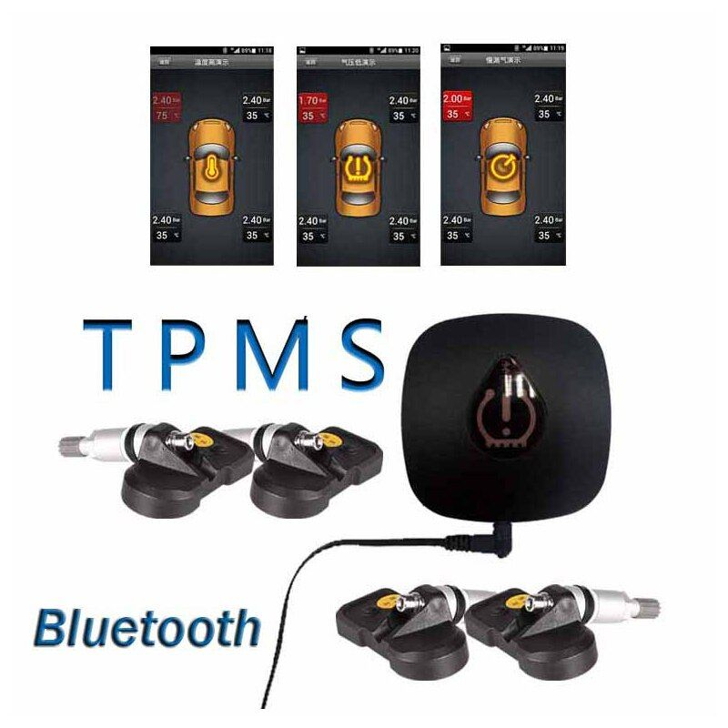 Bluetooth TPMS Wireless Car Tire Pressure and Temperature Monitoring System For Android  with 4 internal Sensors