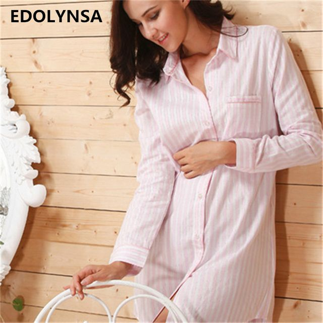 2017 Brand Striped Cotton Nightgowns Sleepwear Female Sleep Lounge Women Indoor Clothing Sexy Pink Home Dress Nightdress #P116