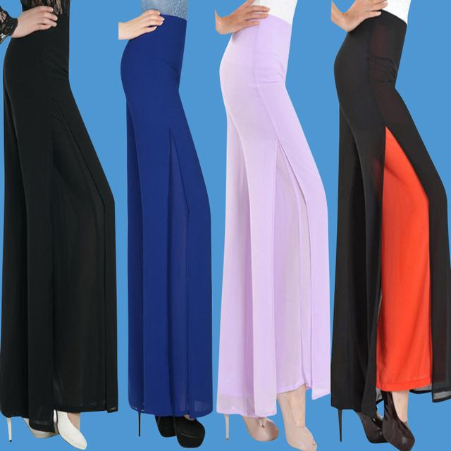 High Quality Summer Chiffon Trousers Plus Size Women's Long Pants Wide Leg Pants Plus Size 26-34 Casual Trousers