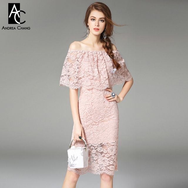spring summer runway designer womens dresses pink knee length sexy lace dress slash collar cape top vintage event brand dress