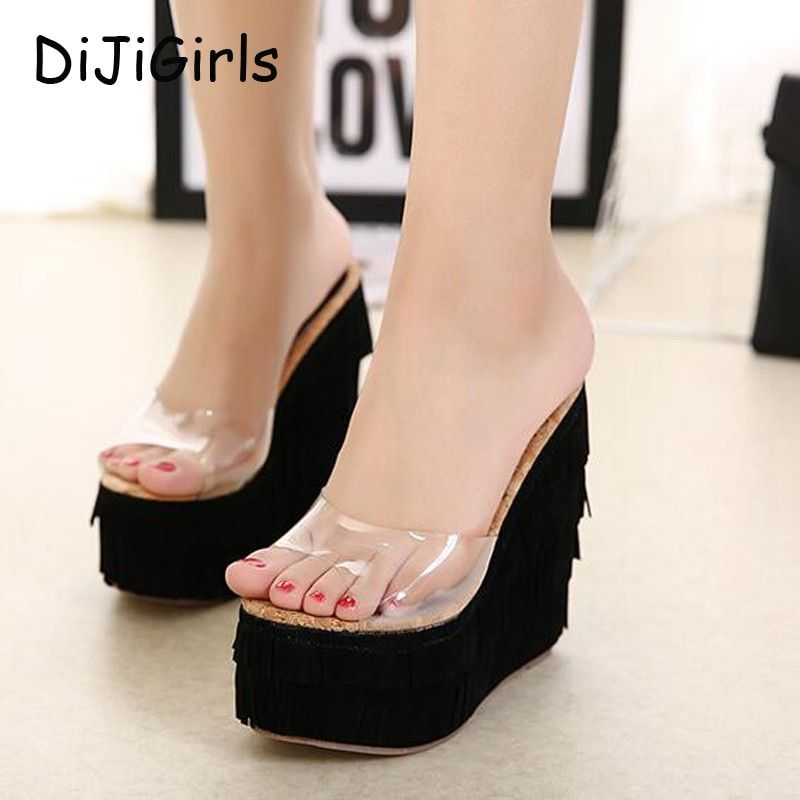 2017 New Summer Transparent Platform Wedges Sandals Women Fashion High Heels Female Summer Shoes Size 34-40 Drop Shipping X474