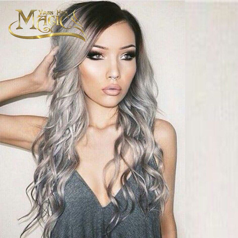 Brazilian ombre grey full lace human hair wigs wavy silver gray glueless front lace wig 130% density with bleached knots 1b gray