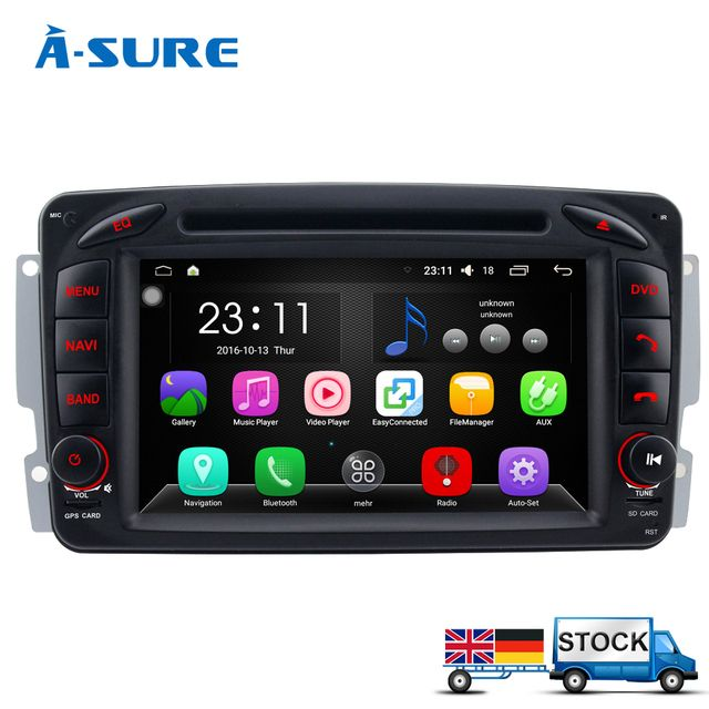 A-Sure DAB+ Android 6.0 Car DVD GPS Navi for Mercedes Benz C Class W203 S203 CLK W209 Viano Vito W639 W463 With Radio WIFI