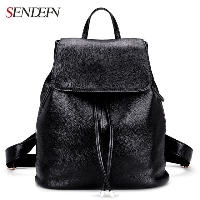 SENDEFN Genuine Leather Backpack Large Capacity Black Leather Shoulder Bag Women School Backpack Travel Bags